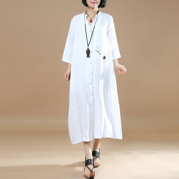 Women Loose Embroidered Casual Linen Irregular White Dress - Buykud