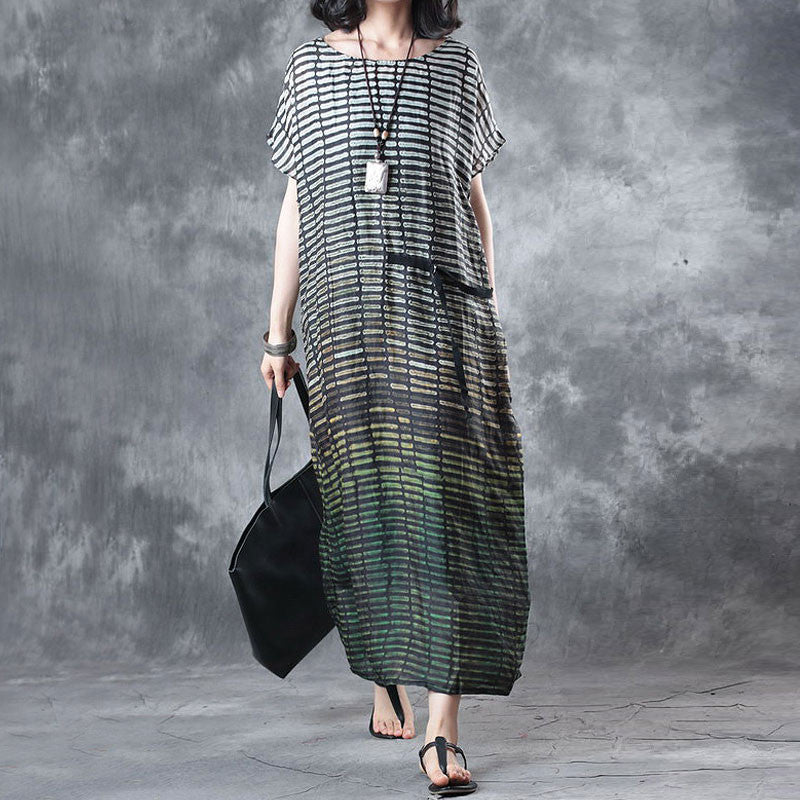 Linen Stripe Loose Casual Summer Women Green Dress - Buykud