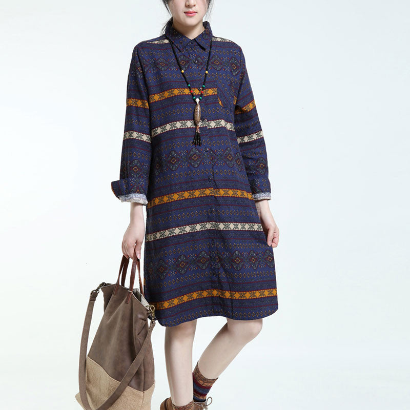 Ethnic Style Linen And Cotton Spring Dress - Buykud