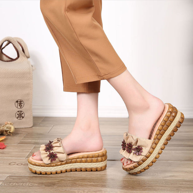 Slope Heel Thick Bottom Yellow Slippers Women Beach Shoes