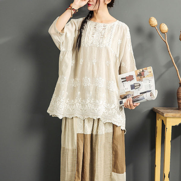 Straight  Floral Cotton Linen Loose Shirt - Buykud