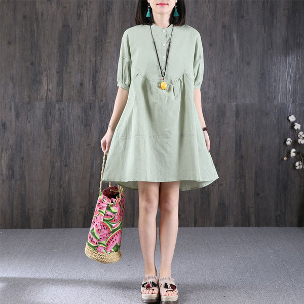 Women Loose Cotton Pocket Green Dress - Buykud