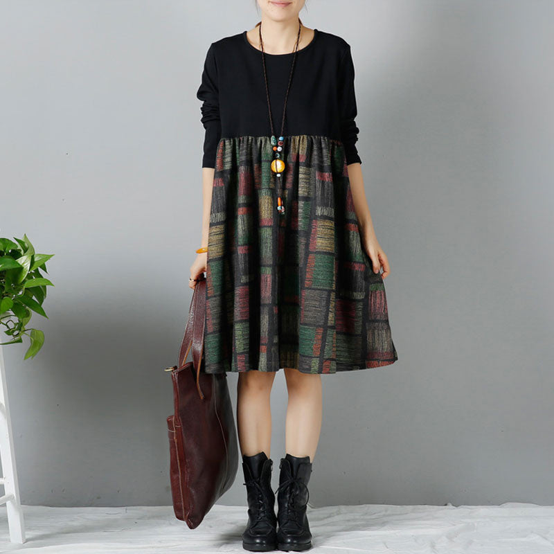 Winter Splicing Round Neck Large Size Black Dress