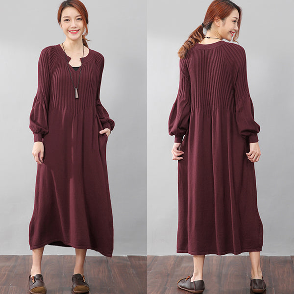 Graceful Autumn Women Puff Sleeves Knitting Wine Red Dress - Buykud