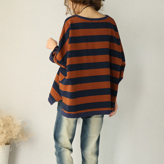 Brown Bat Sleeve Striped Cotton Shirt - Buykud
