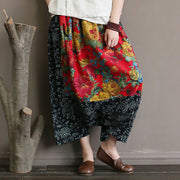 Cotton Linen Ethnic Printed Splicing Loose Pants
