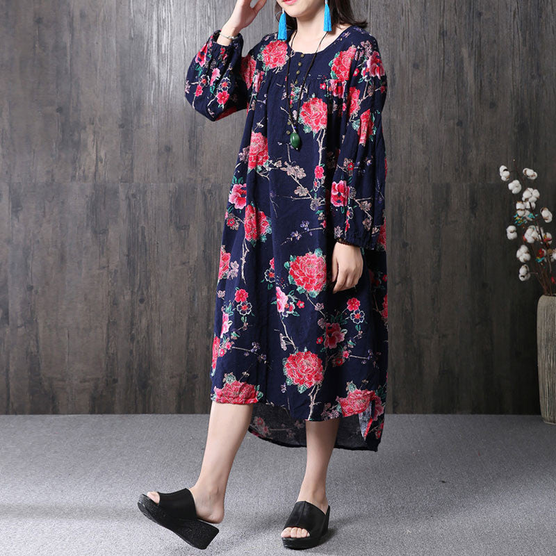 Ethnic Women Printing Floral Irregular Cotton Linen Navy Blue Dress - Buykud