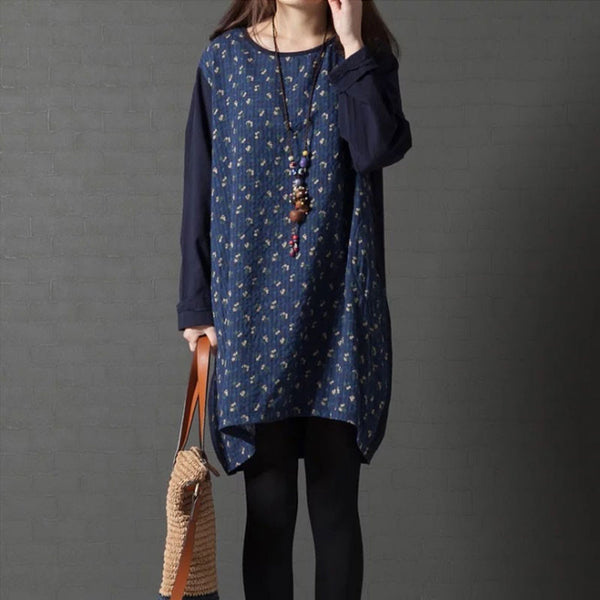 Linen Printing Loose Splicing Blue Shirt