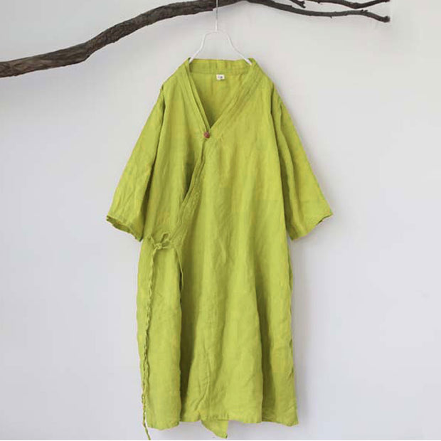 Loose Women Spring V Neck Half Sleeve Yellow Lacing Coat - Buykud