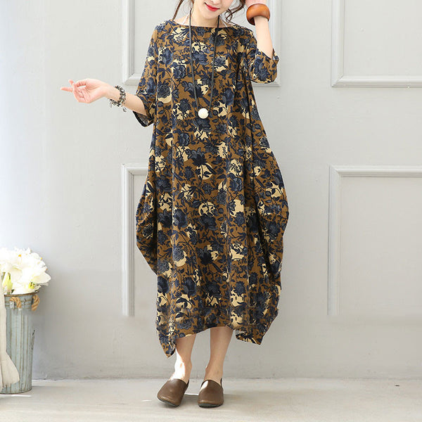 Women Cotton Linen Casual Loose 3/4 Sleeve Dress