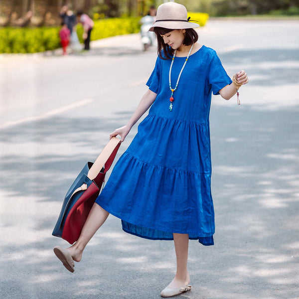 Summer Women Linen Loose Pleated Short Sleeve Blue Dress