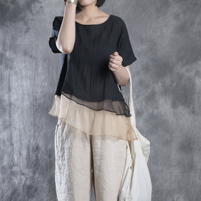 Loose Linen Short Sleeve Stripe Black Blouse