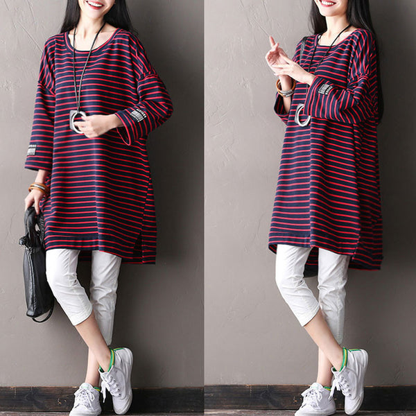 Splicing Women Loose Stripe Cotton Irregular Red Shirt