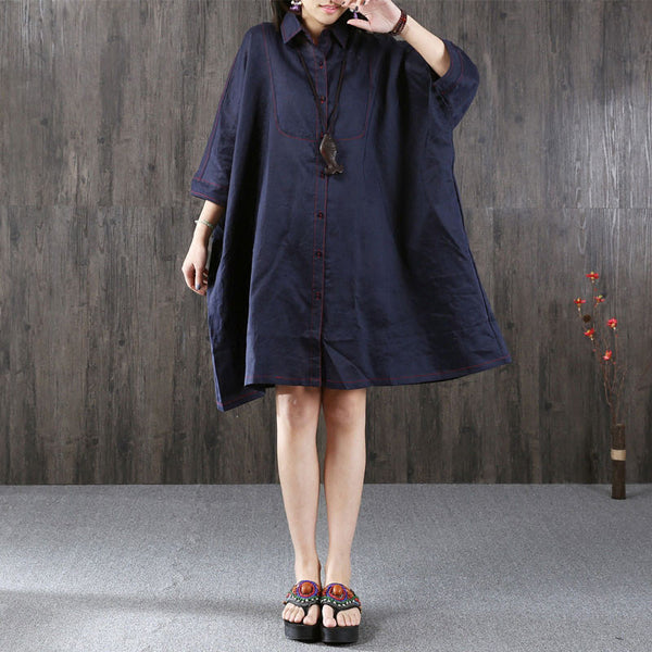 Loose Bat Sleeve Linen Navy Blue Dress