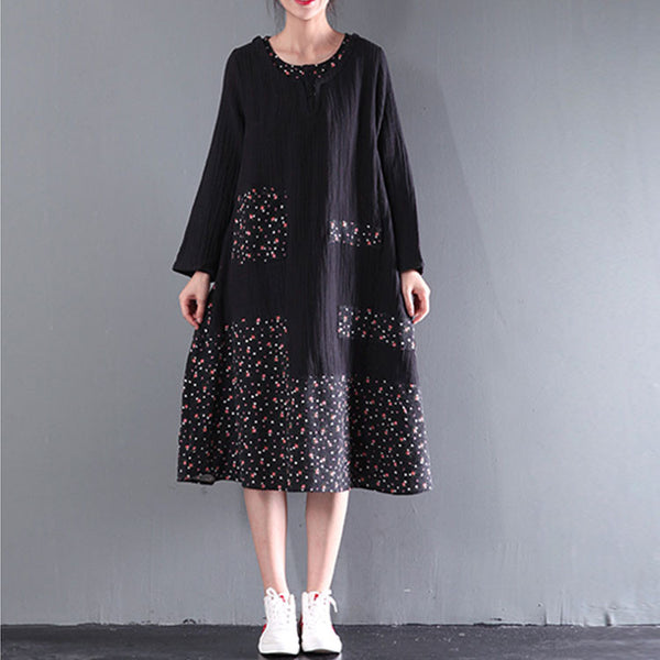 Cotton Stitching Retro Big Swing Dress