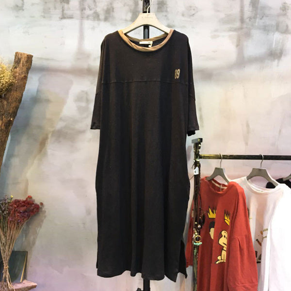 Spring Round Neck Casual Bat Sleeve Dress