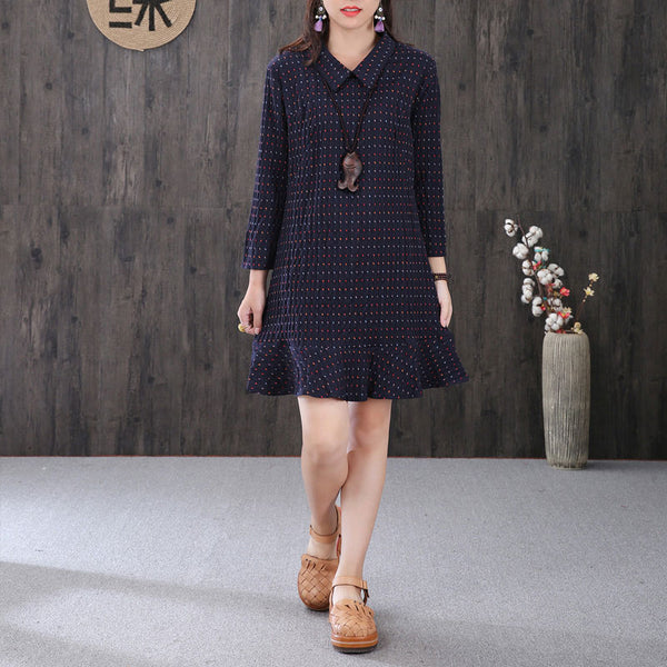 Elegant Flouncing Dots Fishtail Skirt Navy Blue Dress - Buykud