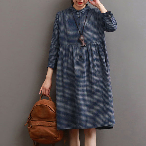 Women Lattice Casual Cotton Linen Loose Blue Dress