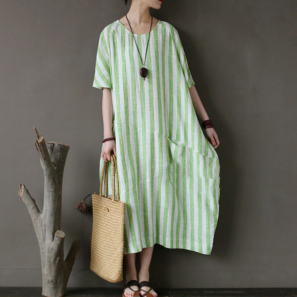 Retro Loose Round Neck Short Sleeve Green Stripe Dress - Buykud