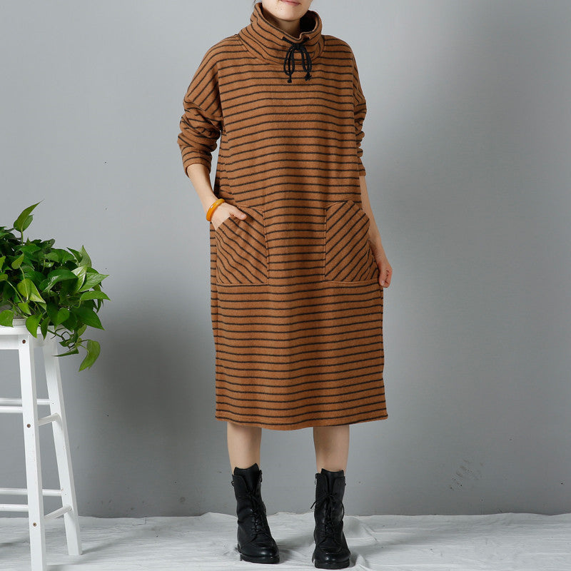 Women Casual Loose Winter Long Sleeve Dress