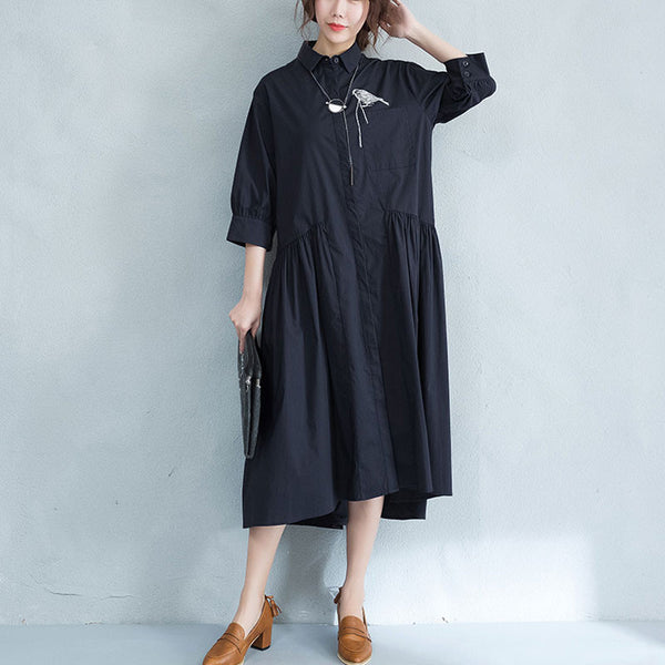Cotton Women Embroidered Loose Splicing  Shirt Dress