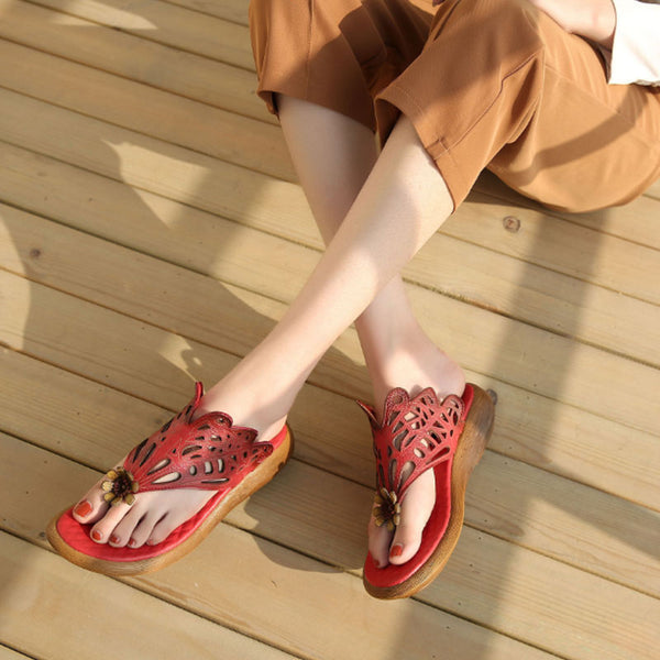 Women Summer Casual Leather Shoes Red Portable Slippers