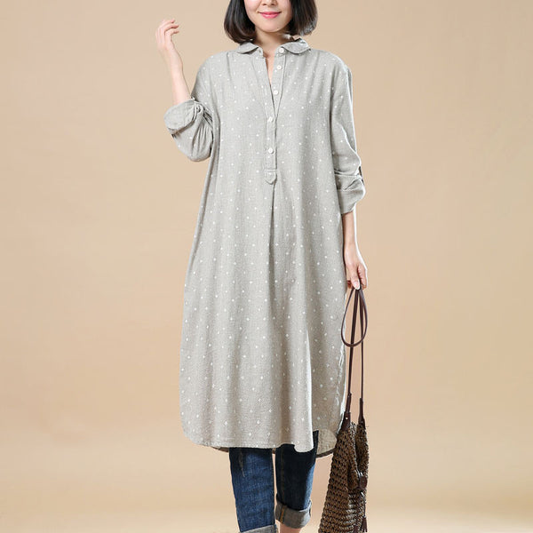 Spring Casual Printing Beige Long Shirt