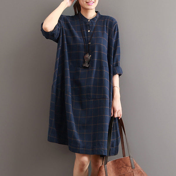 Casual Loose Stitching Plaid Dress - Buykud