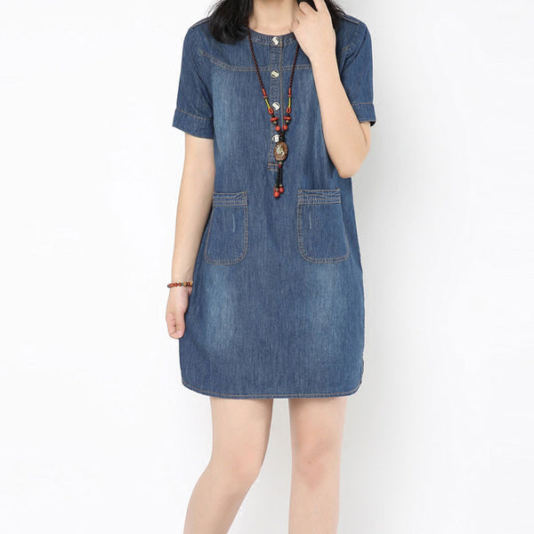 Women Summer Round Neck Pocket Dress - Buykud