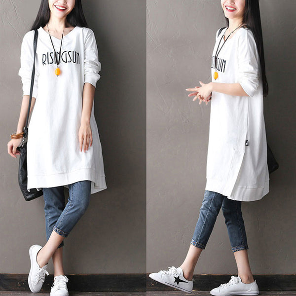 Cotton Loose V Neck Women Dress