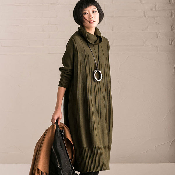 Women loose long sleeve cotton dress