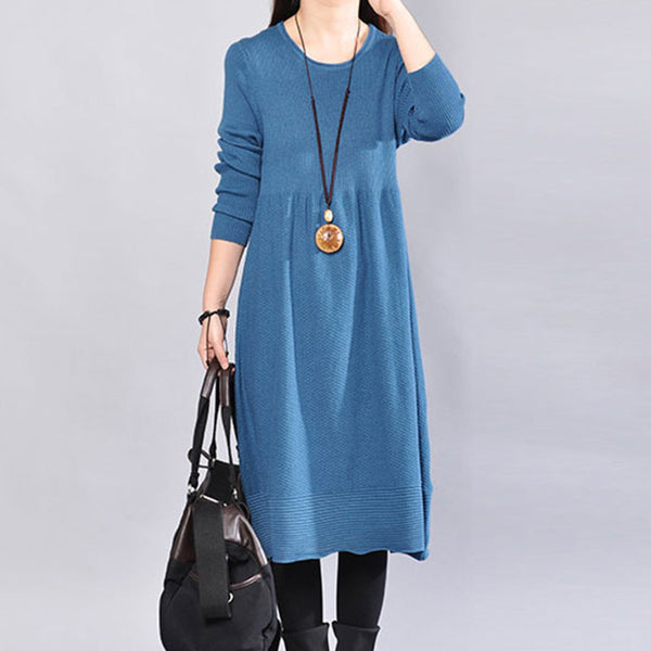 Simple Round Neck Knitted Long Sleeve Blue Dress