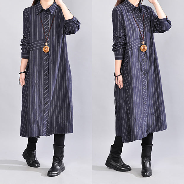 Navy Blue Stripe Cotton  Linen Stand Collar Women Long Shirt - Buykud