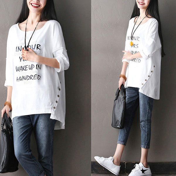 Splicing Loose Cotton Round Neck White T-Shirts