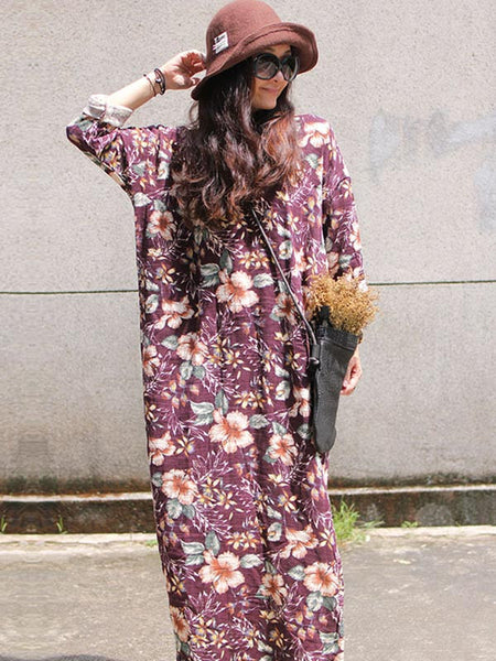 Women Loose Fitting Linen Print Dress