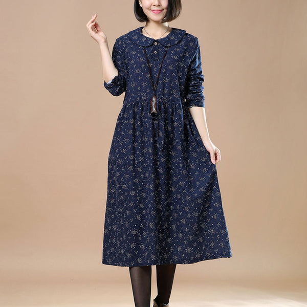 Linen Floral Long Sleeves Blue Dress