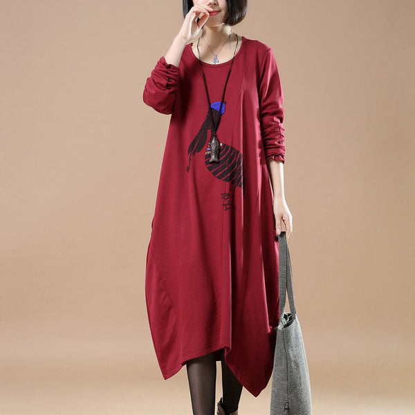 Cotton Splicing Round Neck Loose Red Dress