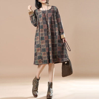 Brown Round Neck Print Dress - Buykud