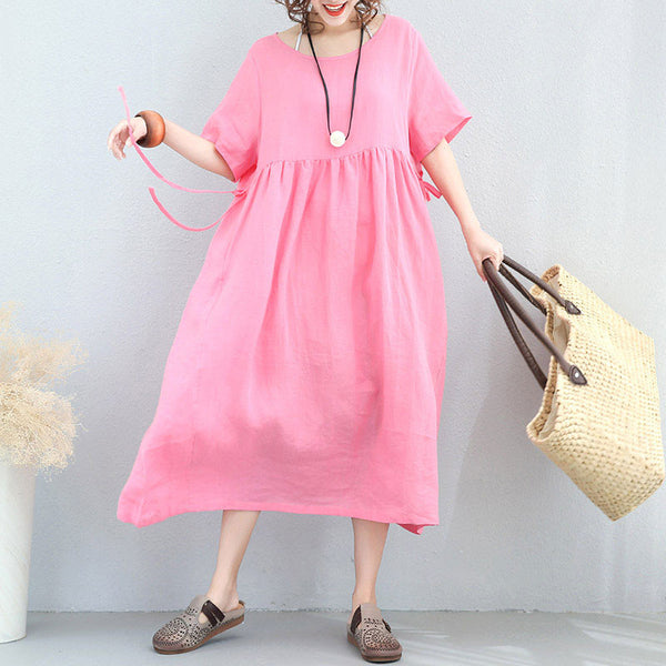 Summer Folded Women Loose Cotton Linen Lacing Pink Short Dress - Buykud