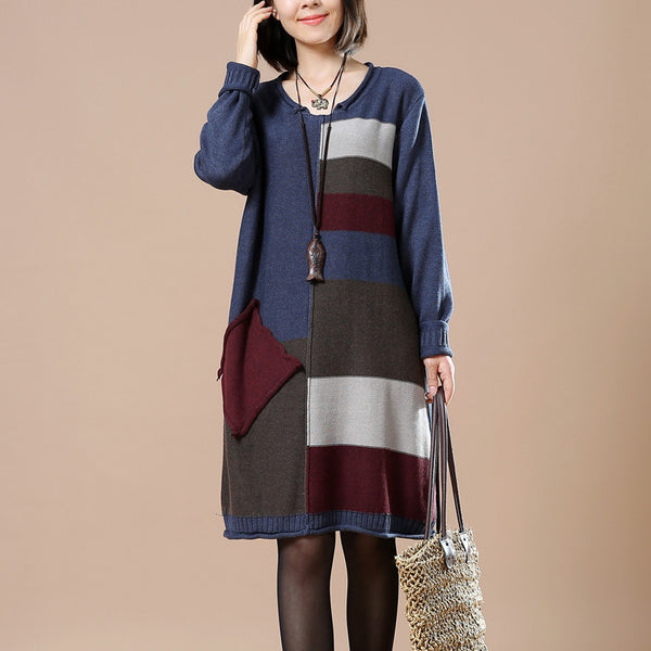 Blue Women Loose Autumn Knitted Sweater