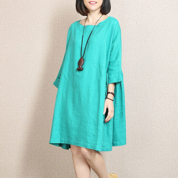 Spring Linen Bat Sleeves Large Hem Light Blue Dress
