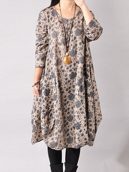 Print Cotton Long Sleeve Dress