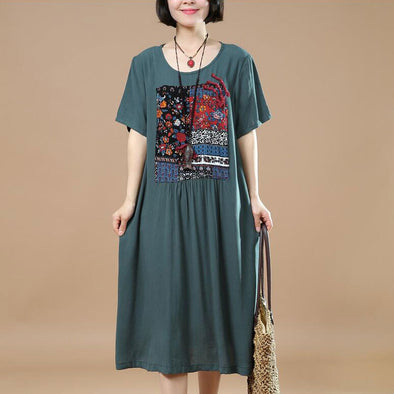 Green Women Loose Summer Linen Cotton Ethnic Casual Dress - Buykud