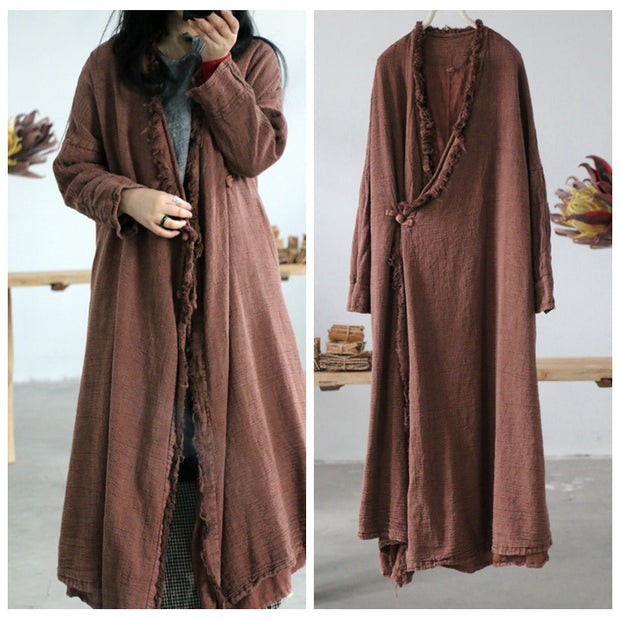 Women Spring Solid Rough Selvedge Loose Trench Coat