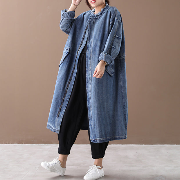 Buykud Spring Autumn Casual Solid Color Zipper Denim Coat