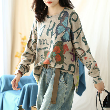 Buykud Butterfly Print High Low Hem Pullover Sweater