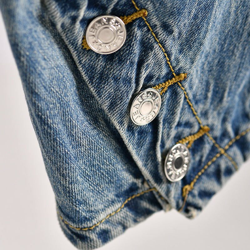 Buykud Casual Button Pure Color Banana Jeans