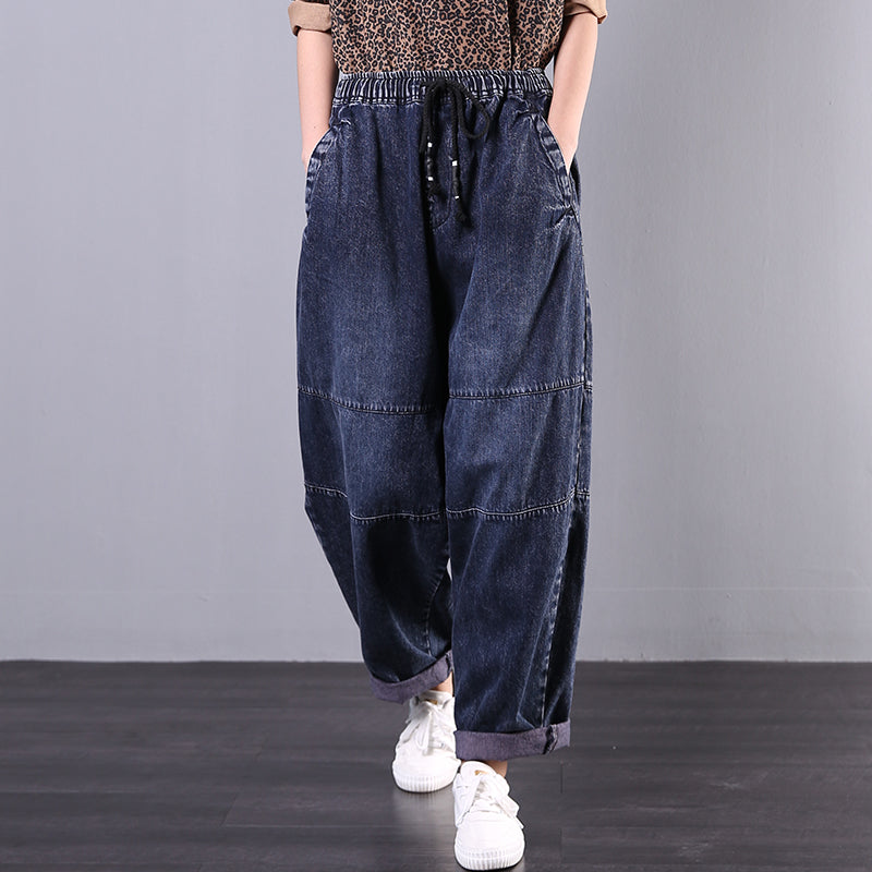 Buykud Symmetrical Pocket Casual Comfort Loose Jeans