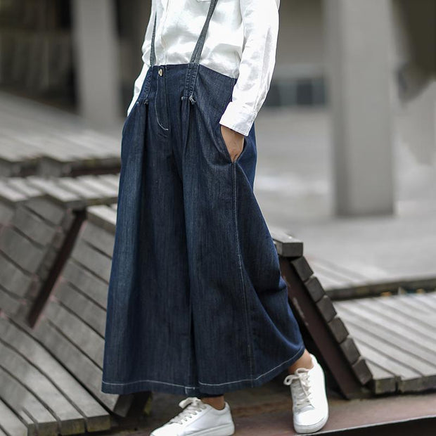 Blue Cotton Denim High Waist Women Casual Jumpsuit