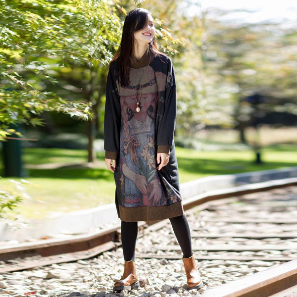 Cartoon Print Long Sleeve Midi Loose Dress
